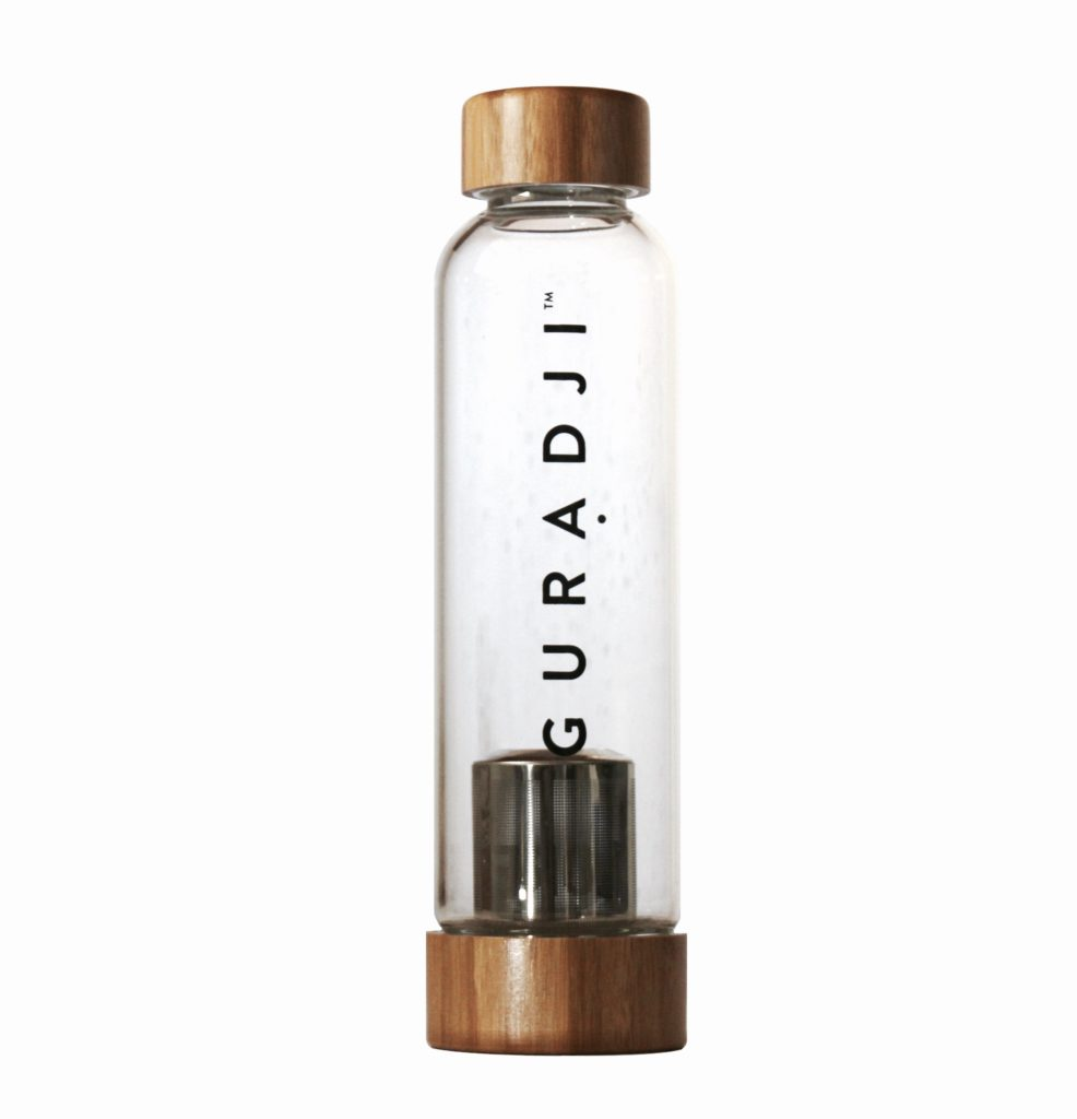 Glass bamboo tea infuser bottle